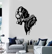 Vinyl Wall Decal Biohazard Gas Mask Respirator Military Decor Stickers Wallstickers4you