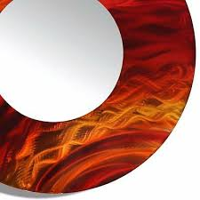 large round red metal wall art abstract