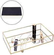 yokay mirror perfume tray mirrored gold