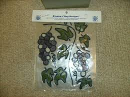 15 Pc Grapes Window Wall Decals New Faux Stained Glass Stickers Vinyl Made In Us Ebay