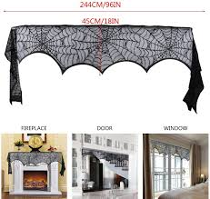 Fireplace Mantel Scarf And 32 Pieces 3d Bats Wall Sticker Decal Round Lace Table Cover Evance 51 Pieces Halloween Decorations Set Include Lace Spider Web Table Runner Table Covers Accessories Table Covers