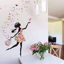 Nature Series Lovely Dancing Flower Girl With Birds Cage Removable Vinyl Diy Wall Art Mural Sticker Decal Decor For Bedroom Living Room Home Decor Walmart Com Walmart Com