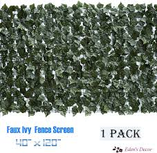 Amazon Com Eden S Decor 120 X40 Faux Ivy Leaf Privacy Trellis Fence Screen Top Quality Artificial Hedge For Outdoor Indoor Decoration 1 Garden Outdoor