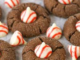 peppermint chocolate thumbprint cookies
