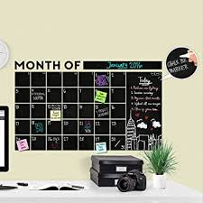 Amazon Com Huge Modern 2019 Monthly Chalkboard Wall Decal Calendar With Memo A Todeco Product Office Products