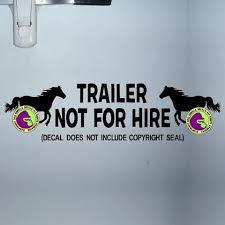 Not For Hire Horse Caution Trailer Vinyl Decal Sticker Gorilla Decals