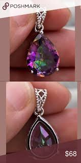 gold filled purple mystic topaz pendant