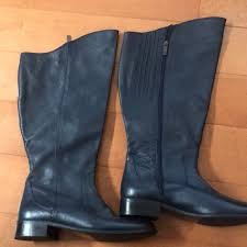 duoted y wide calf leather boots sz