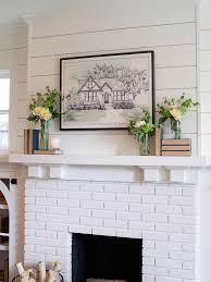 shiplap and painted brick fireplace
