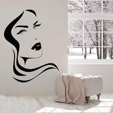 Vinyl Wall Decal Girl Face Sexy Lips Hairstyle Design Beauty Hair Salon Wall Stickers Girls Bedroom Home Decor Removable S1331 Wall Stickers Aliexpress