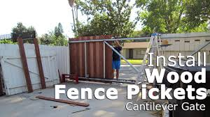 Time Lapse Install Wood Fence Pickets For Cantilever Sliding Gate Chain Link Frame Youtube