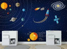 3d Space Universe Wallpaper Children S Room Background Wall Painting Kid Room Nursery Wallpaper Space Kids Room Wallpaper Childrens Room