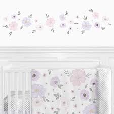 Shop Sweet Jojo Designs Lavender Purple Pink Grey Watercolor Floral Wall Decal Stickers Art Nursery Decor Set Of 4 Rose Flower Overstock 29343585