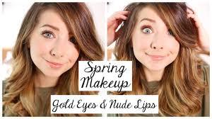 spring makeup tutorial gold eyes