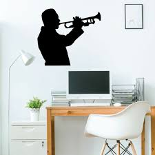 Amazon Com Trumpet Player Wall Decal Music Studio Decoration Vinyl Design For Home Decor Bedroom Or Playroom Musicians Gift Handmade