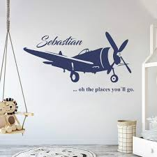 Amazon Com Custom Name Transportation Theme Airplane In The Sky For My Baby Baby Boy Girl Wall Decal Nursery For Home Bedroom Children Am Wide 40 X 22 Height Baby