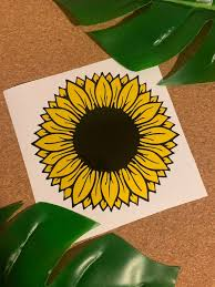Sunflower Vinyl Decal Sticker Flower Yellow Black Etsy