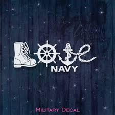 Love Navy Military Vinyl Car Decal Car Window Laptop Etsy