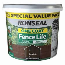 Ronseal One Coat Fence Life Dark Oak Matt Fence Shed Wood Treatment 12l Departments Diy At B Q