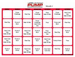 les mills pump workout calendar print