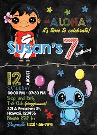 Lilo Stitch Party Invitation Birthday Party Supplies Kids