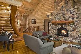 large giant cobblestone fireplace