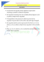 class 8 maths chapter linear equations