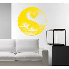 Shop The Sun Moon Sky Wave Wall Art Sticker Decal Yellow Overstock 11921385
