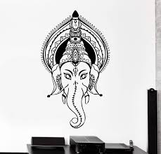 Vinyl Wall Decal Ganesha Head Indian God Elephant Stickers Unique Gift Wallstickers4you