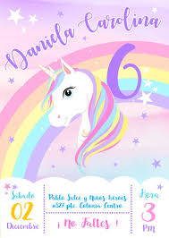Invitacion Imprimible Personalizada Unicornio Infantiles 75 00
