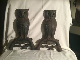 antique rostand cast iron owl andirons