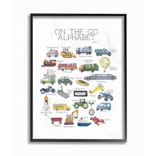The Kids Room By Stupell 24 In X 30 In Watercolor On The Go Alphabet With Firetruck Airplane And School Bus By Dishique Framed Wall Art Brp 2392 Fr 24x30 The Home Depot