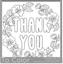 Dank U Afdrukbare Kleurplaat Voor Volwassenen Pdf Jpg Etsy