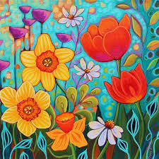 Colorful and Bright Floral Paintings by Peggy Davis I Artsy Shark