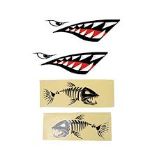 Skeleton Fish Decal Stickers For Kayak Canoe 4 Pieces Shark Teeth Mouth Graphics Decals