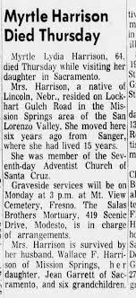 Myrtle Lydia Harrison, 64, died 24 Oct 1969 Santa Cruz Sentinel (Santa  Cruz, Califonia) pg 20 - Newspapers.com