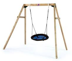 plum wooden swing set with nest