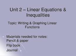 ppt unit 2 linear equations