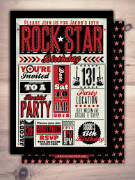 Rock Star Invitation Pop Star Invitation Rock Star Party Etsy