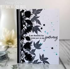 Monochromatic leaf card by Memory Box designer Penny Ward | Memory box,  Leaf cards