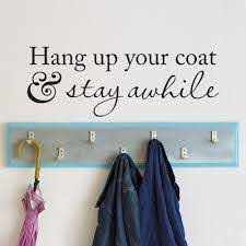 Hang Up Your Coat Stay Awhile Wall Decal Coat Rack Entryway Decor Foyer Wall Decal For Living Room Vinyl Art Murals Large Vinyl Wall Decals Large Wall Art Decals From Joystickers