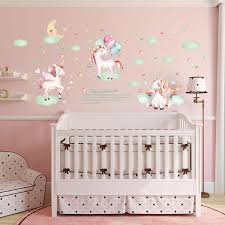 1pc Dreamy Pink Pony Beautiful Unicorn Wall Stickers Clouds Stars Moon Sticker For Kids Room Girl S Room Home Decoration Wall Stickers Aliexpress