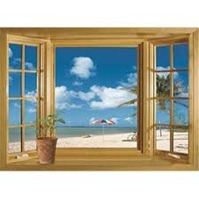 Picniva 3d Beach Window View Removable Wall Stickers Vinyl Decal Home Decor Deco Art