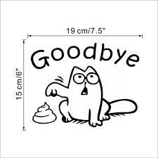 Vova Goodbye Vinyl Say Bathroom Home Black Cat Toilet Wall Decal