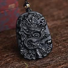 black obsidian dragon pendant
