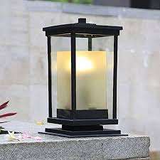 Hjzy Pillar Lamp Double Glazed Lantern For Outdoor Patio Post Top Lantern Light Decoration Column Lamp Decoration Lane Deck Villa Swimming Pool Fence Amazon Co Uk Kitchen Home