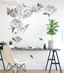 Peony Flowers Wall Decal Black And White Watercolor Peonies Etsy In 2020 Flower Wall Decals Wall Decals Flower Wall