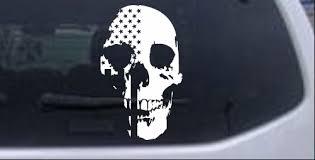 Skull Shadow Us Usa American Flag Vertical Car Or Truck Window Decal Sticker Rad Dezigns