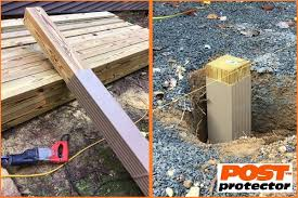 Post Protector Provides Post Decay Rot And Chemical Migration Protection For In Ground Posts Pole Barns Fence Post Installation Cedar Fence Cedar Fence Posts