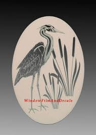 Oval Egret Cattails Left Etched Window Buy Online In El Salvador At Desertcart